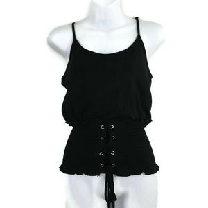 Heart & Hips Black Corset Lace Up Tank Top